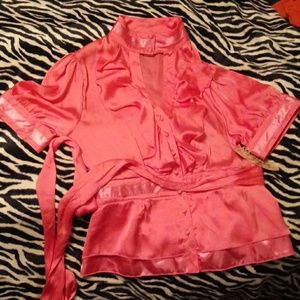 NWT Love Notes satin keyhole neckline blouse